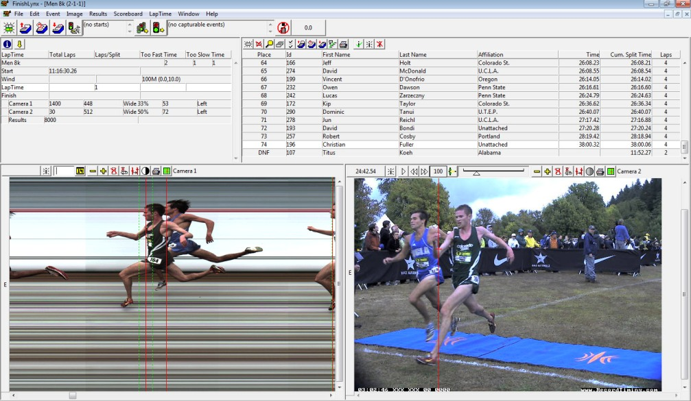 FinishLynx software integration with IdentiLynx video and RFID Chip Timing.