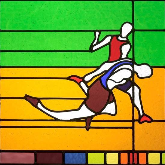 Stained glass photo finish art created by Neil McCain
