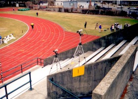 Silver Bullets setup at a 1996 Dartmouth College outdoor meet.