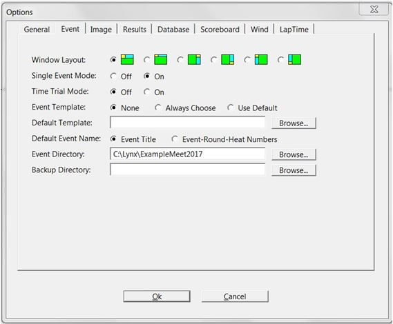 Finishlynx event options dialog box