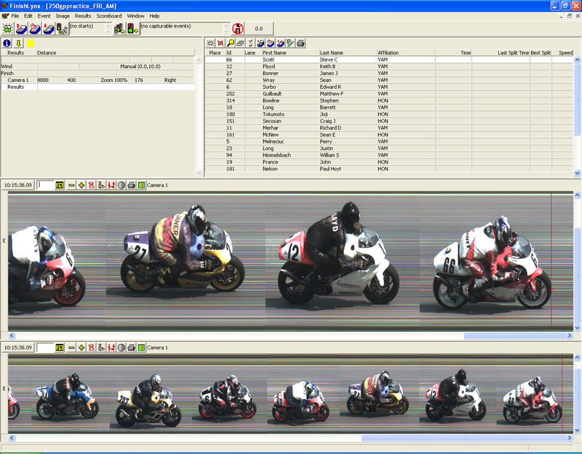 Motorcycle racing photo finish software