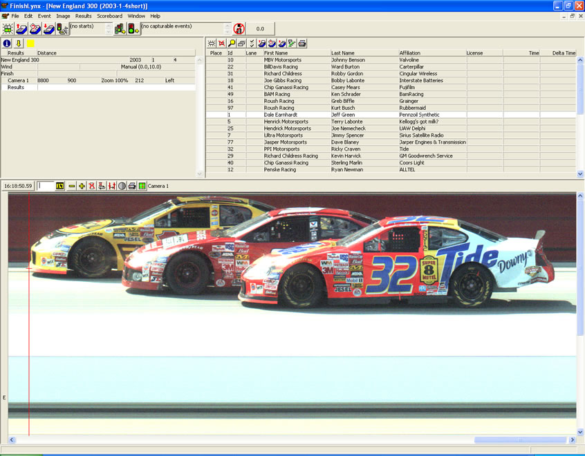 NASCAR photo finish software capture