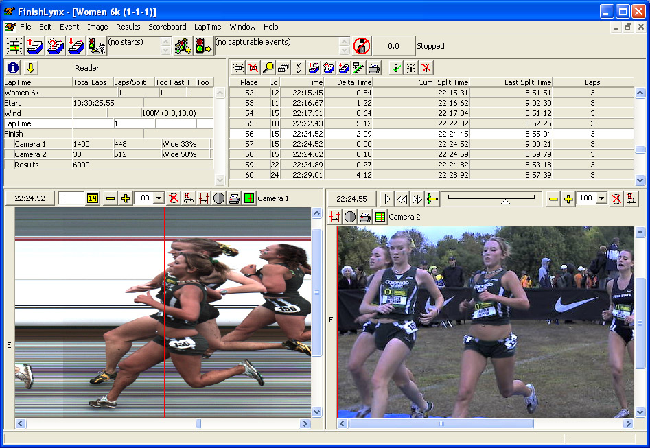 FinishLynx results software screenshot