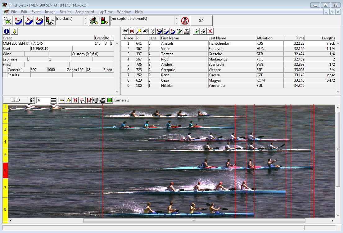 Kayak FinishLynx Photo-Finish Capture