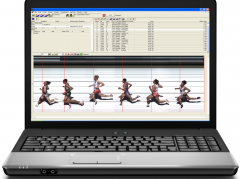 Laptop computer running FinishLynx software